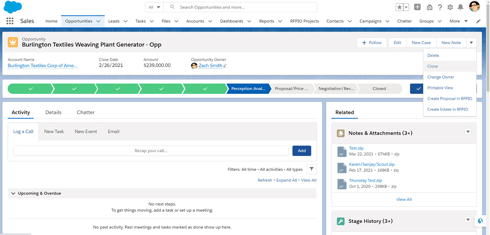 Initiate a proactive proposal project directly from Salesforce