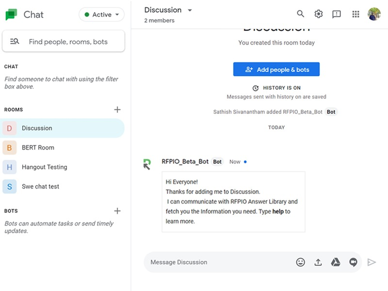 By integrating proposal software with Google Hangouts, you can receive @mentioned comments as direct messages.