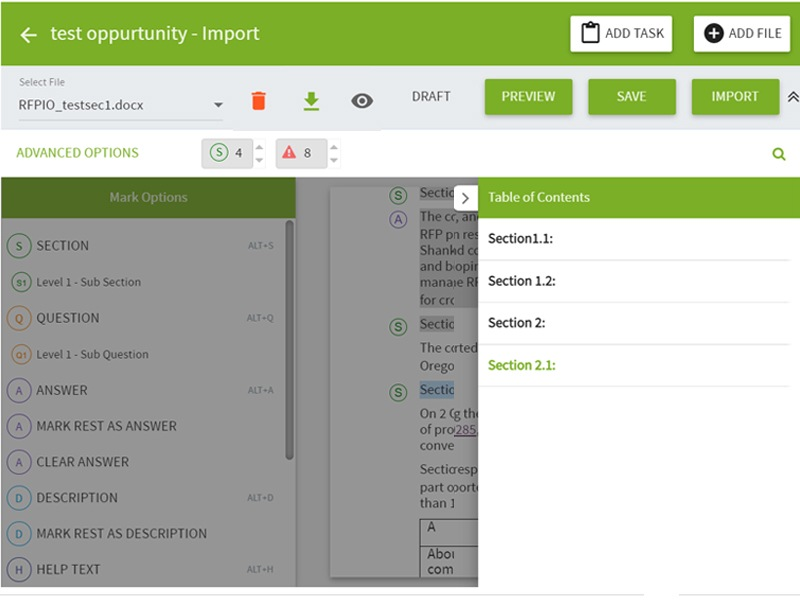 Easily import tables into your proposal software