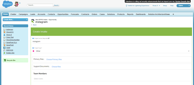 Sales teams can send intake requests to the proposal team right from their favorite CRM (Salesforce).